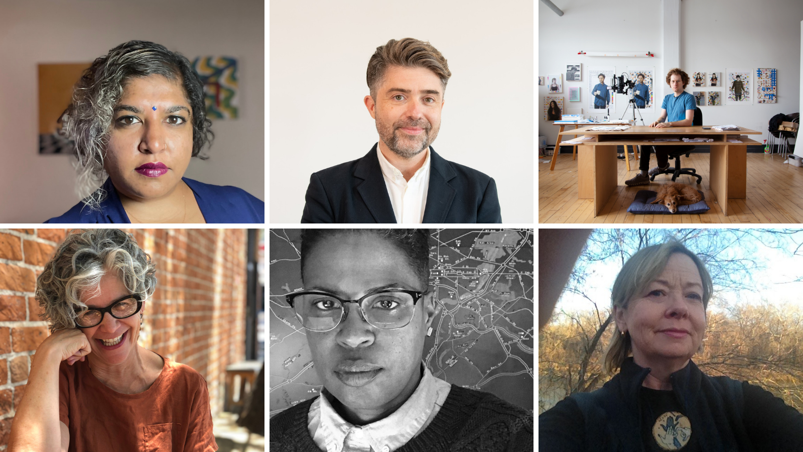 Grid of six photos. Each photo features an Art+Feminism board member. Clockwise from top left: Sheetal Prajapati, Roderick Schrock, Michael Mandiberg, Adela C. Licona, Kerrie Cotten Williams, Wendy Woon