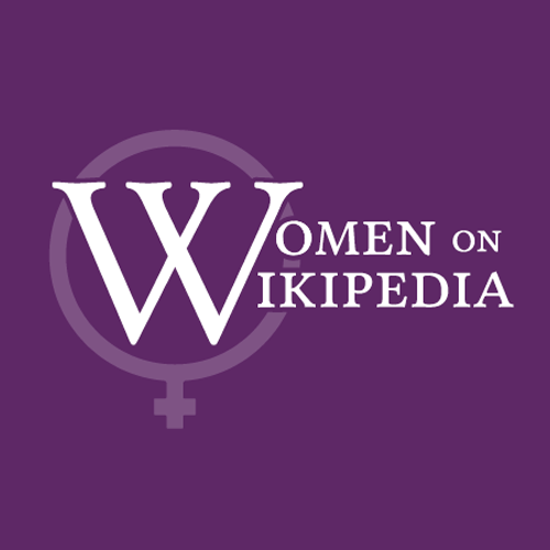 Women on Wikipedia logo in white on a solid purple background