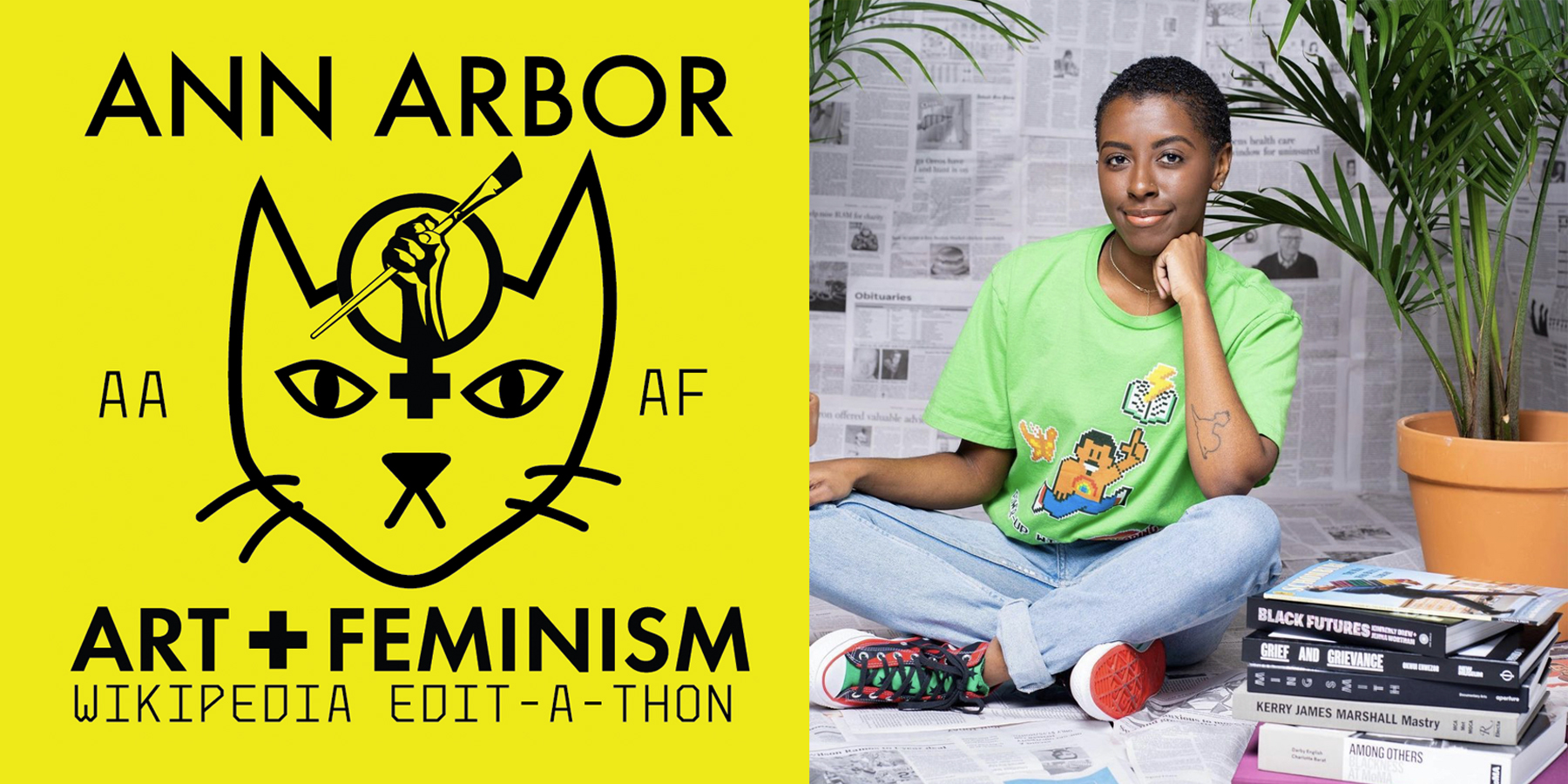 "Image of a cat logo labeled ""Art+Feminism"" and image of Asmaa Walton"