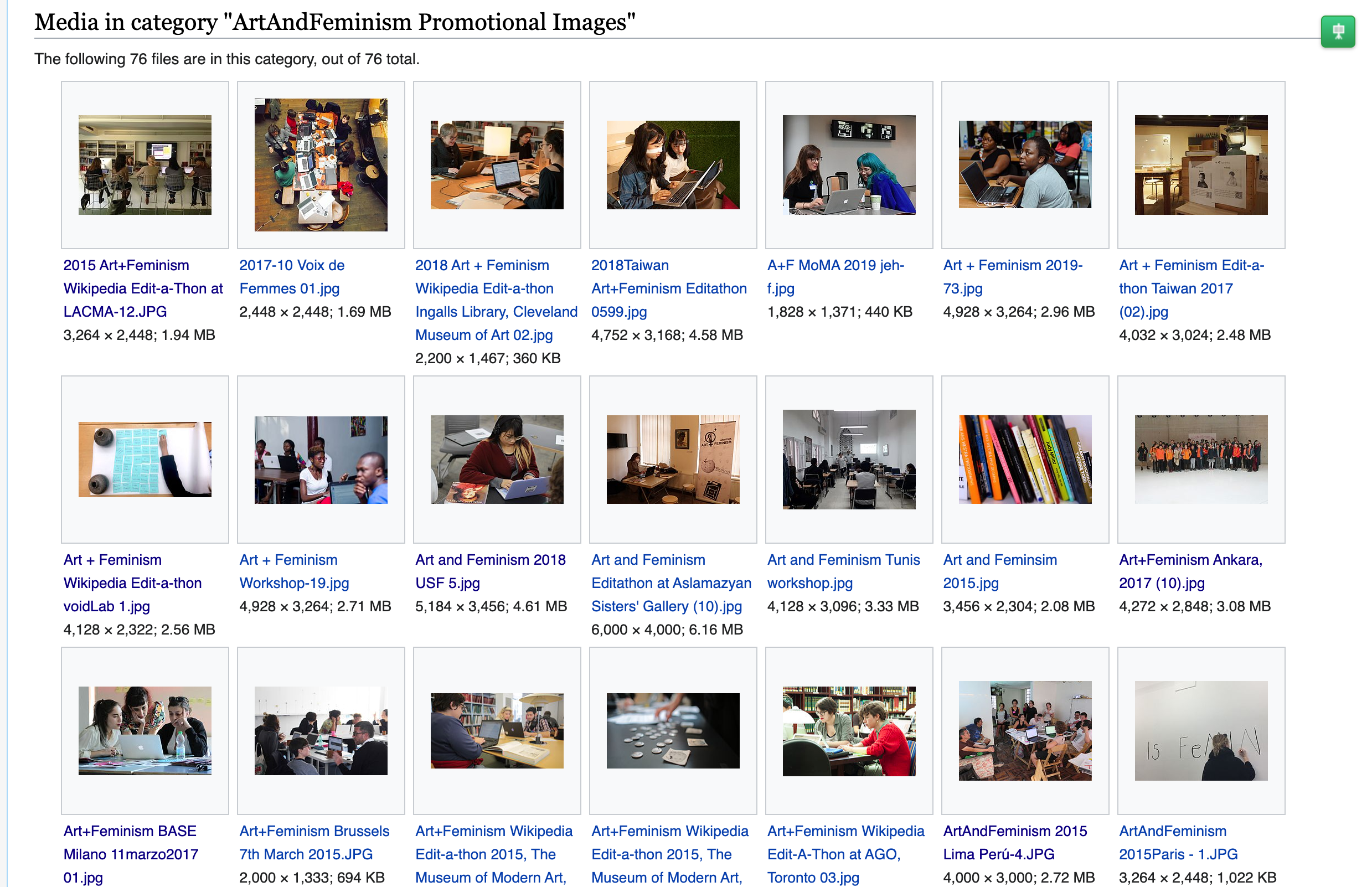 screen shot of WikiCommons from Art+Feminism promotional photos folder