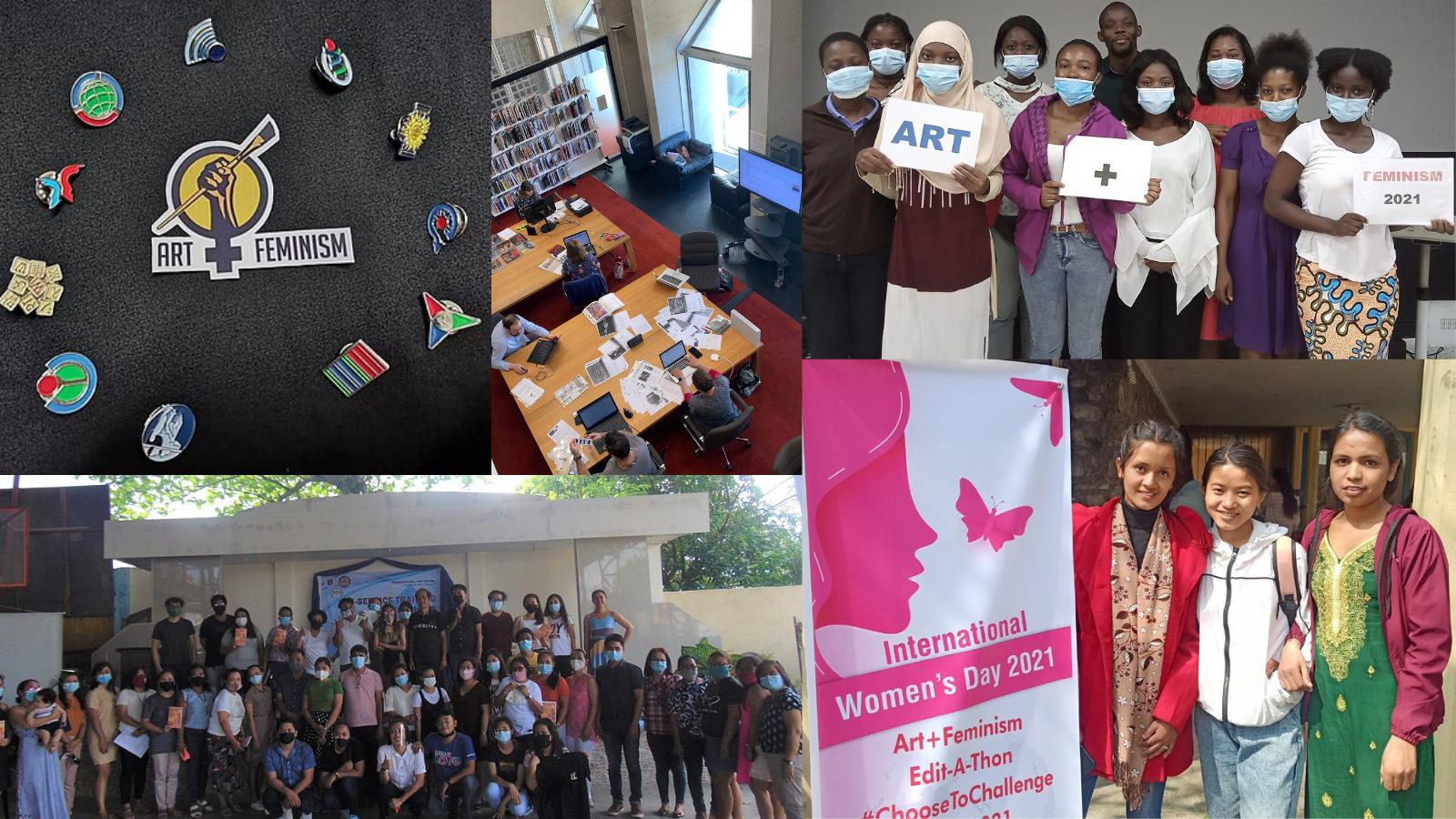Collage de cinco fotos de varios eventos de Arte+Feminismo en todo el mundo en 2021. En el sentido de las agujas del reloj, desde la izquierda: Swag en Arte y Feminismo en Filipinas 2021 (MaroBos); Know My Name Edit-a-thon en la Biblioteca de la Galería Nacional de Australia (Tenniscourtisland); Ateliers ART+FEMINISMO 2021 Costa de Marfil (Aristidek5maya); Arte+Feminismo en Nepal (Nawaraj Ghimire); Arte y Feminismo en Filipinas 2021 (MaroBos) todas las fotos CC BY-SA 4.0, vía Wikimedia Commons  Traducción realizada con la versión gratuita del traductor www.DeepL.com/Translator